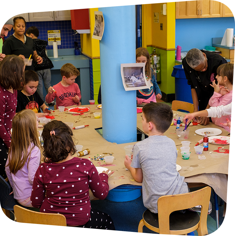 children creating arts and crafts together