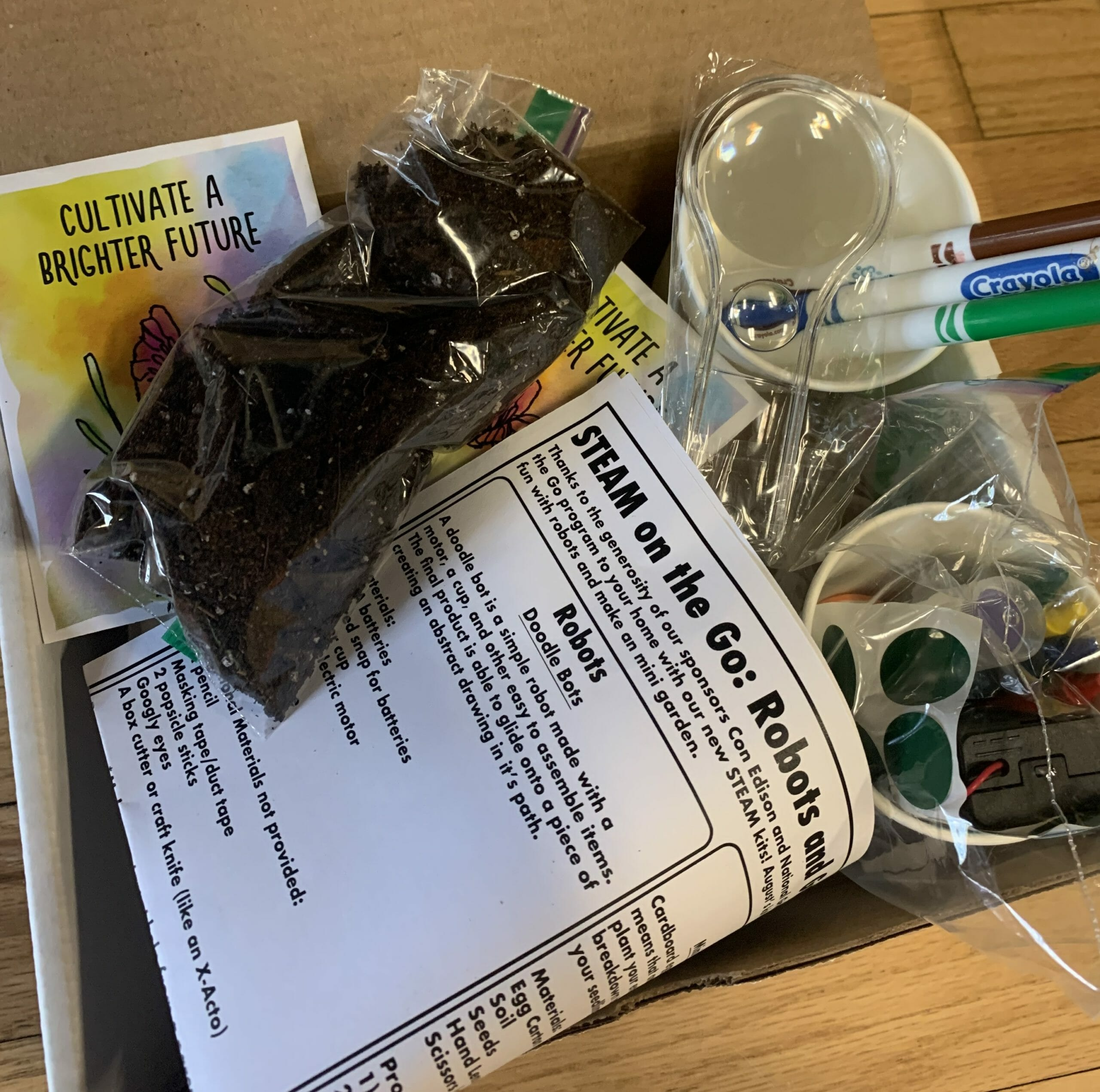 A box of materials for making a Doodle Bot and a Mini Garden