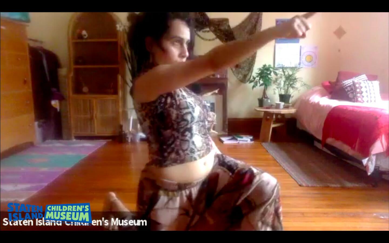 Screenshot of Dance Therapist, Anjoli Chadha, leading a remote dance class