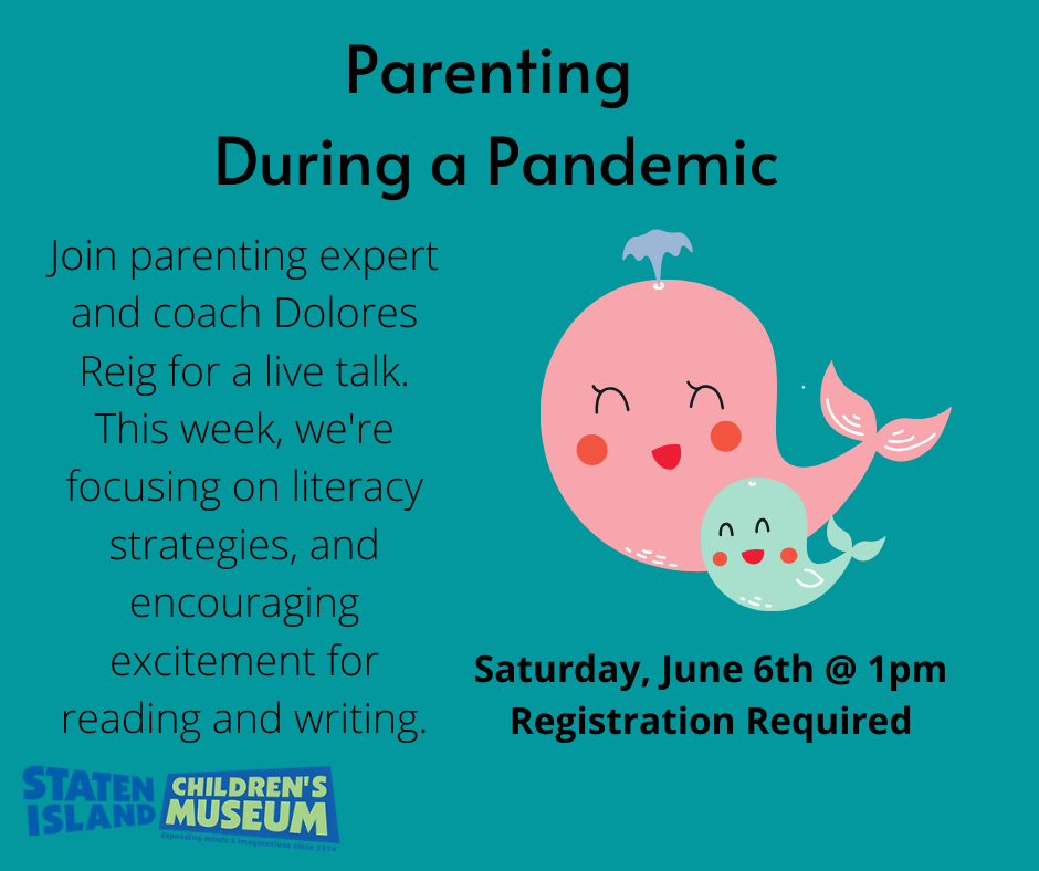 Parent Whale and Child Whale next to Text Promoting our series Parenting During a Pandemic