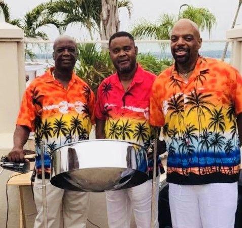 steel drum band members with drum